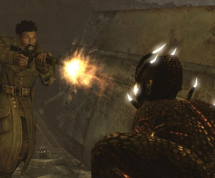 Fallout-New-Vegas-Lonesome-Road-man-shoots-lizard-in-face