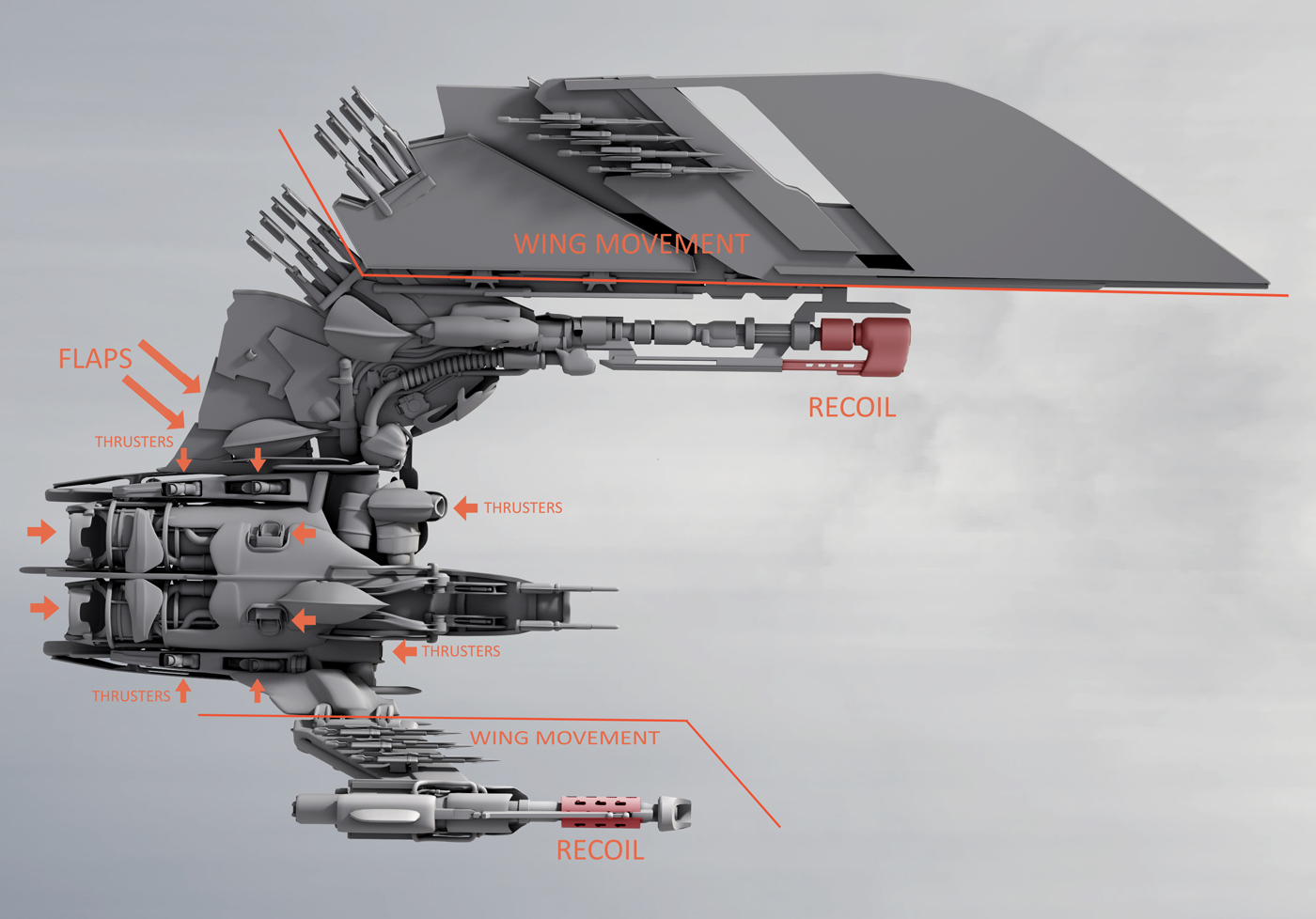 Enemy fighter - mechanical detail