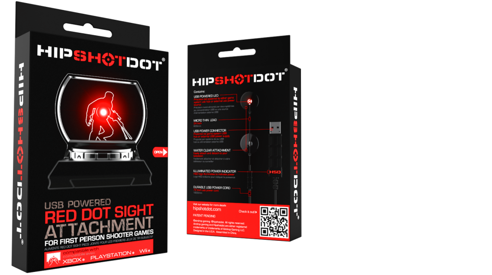 The HipShotDot is the gaming industry's first powered red dot sight attachment for your television. The HipShotDot replaces or enhances your in game sights with a physical USB powered red dot sight.
