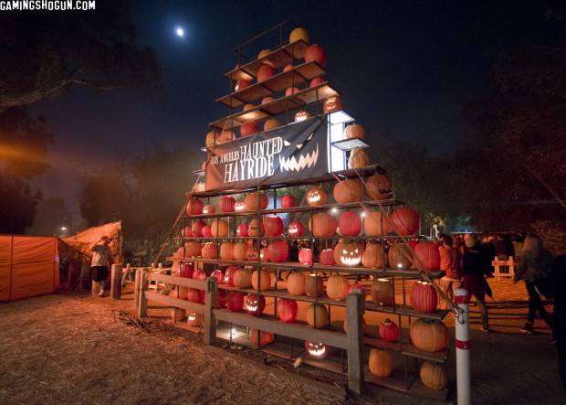 The Los Angeles Haunted Hayride pumpkin display image