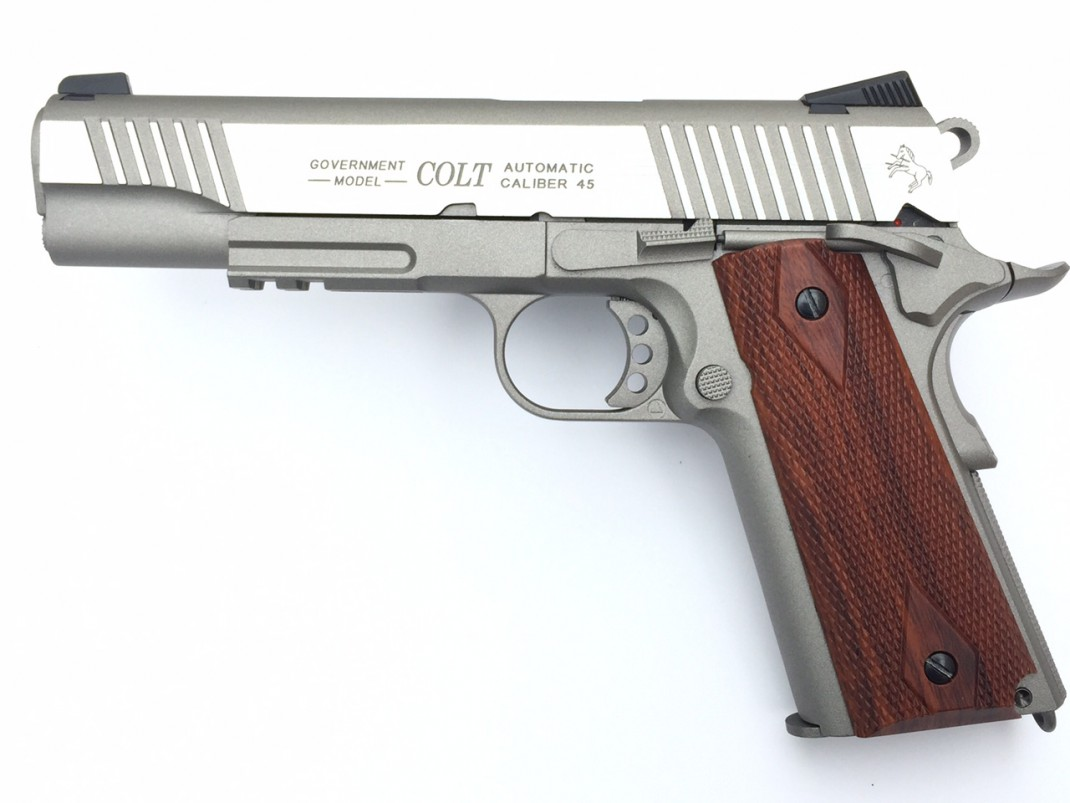 Home Color Combinations Colt 1911 Rail Gun Stainless Airsoft Gas Blowback Pistol